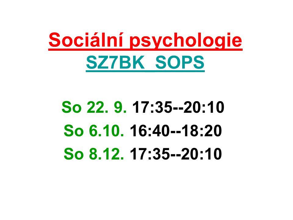 Shrnutí Sociální psychologie studuje vlivy kultruního prostředí na člověka, studuje rozmanité způsoby sebeprojevu a seberealizace člověka v podmínkách sociání prostoru jeho existence