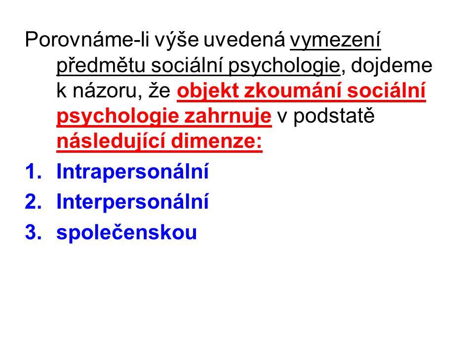 Porovnáme-li výše uvedená vymezení předmětu sociální psychologie, dojdeme k názoru, že objekt zkoumání sociální psychologie zahrnuje v podstatě následující dimenze: 1.Intrapersonální 2.Interpersonální 3.společenskou