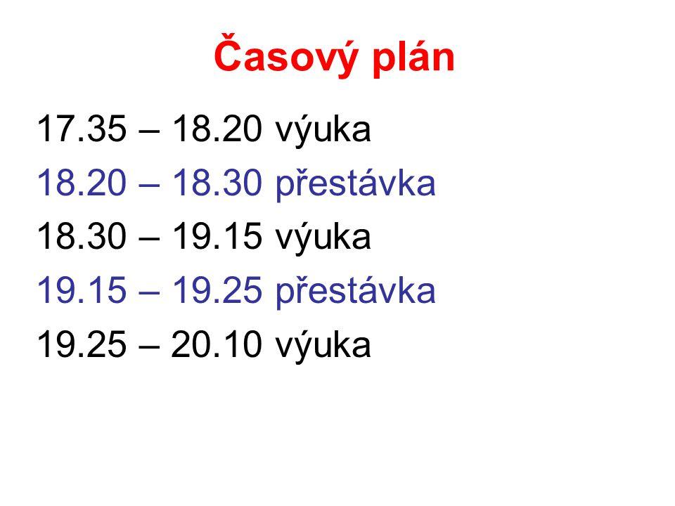 Časový plán 17.35 – 18.20 výuka 18.20 – 18.30 přestávka 18.30 – 19.15 výuka 19.15 – 19.25 přestávka 19.25 – 20.10 výuka