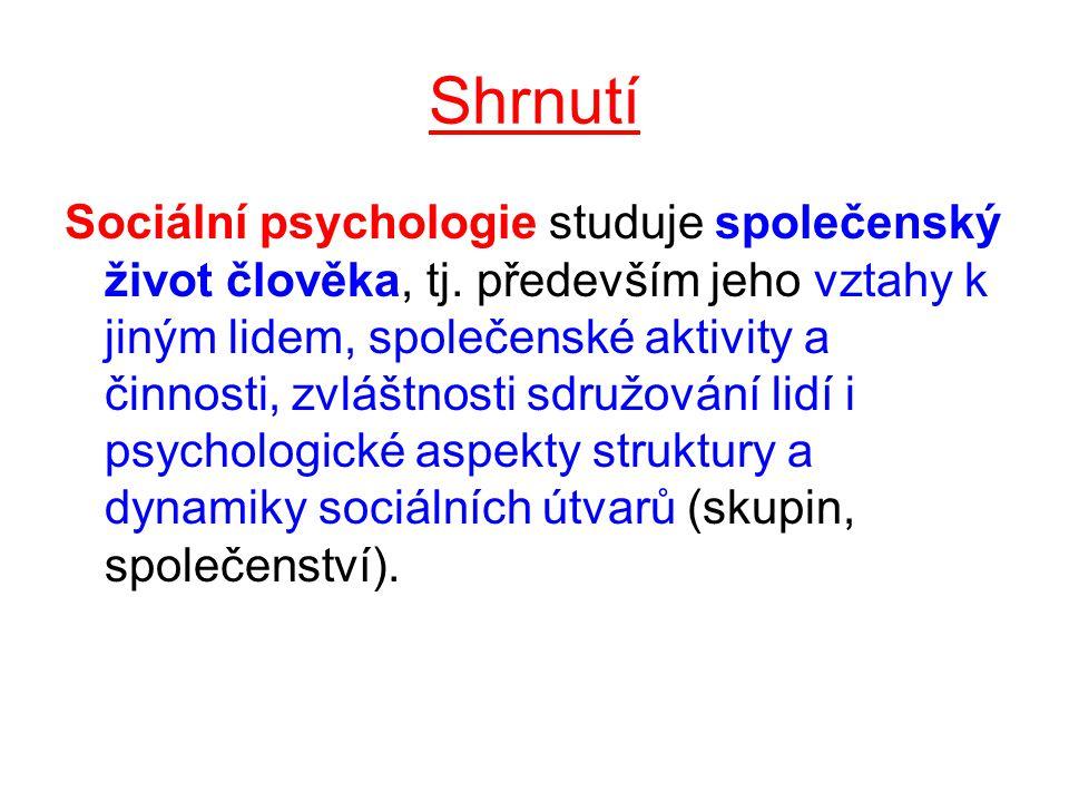 Shrnutí Sociální psychologie studuje společenský život člověka, tj.