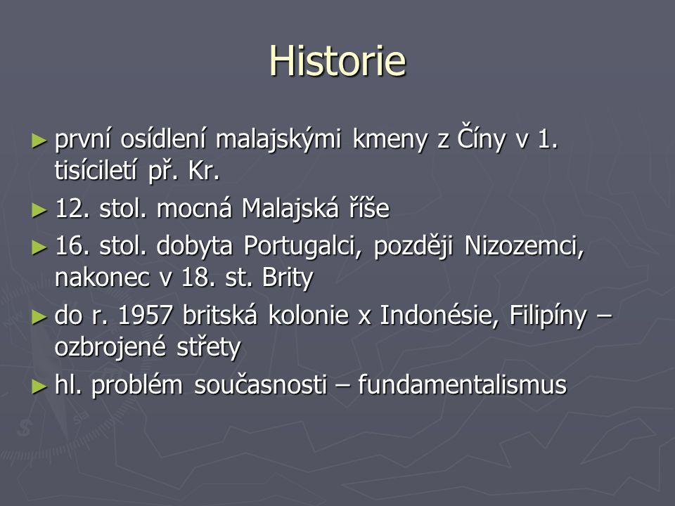 Historie ► první osídlení malajskými kmeny z Číny v 1. tisíciletí př. Kr. ► 12. stol. mocná Malajská říše ► 16. stol. dobyta Portugalci, později Nizoz