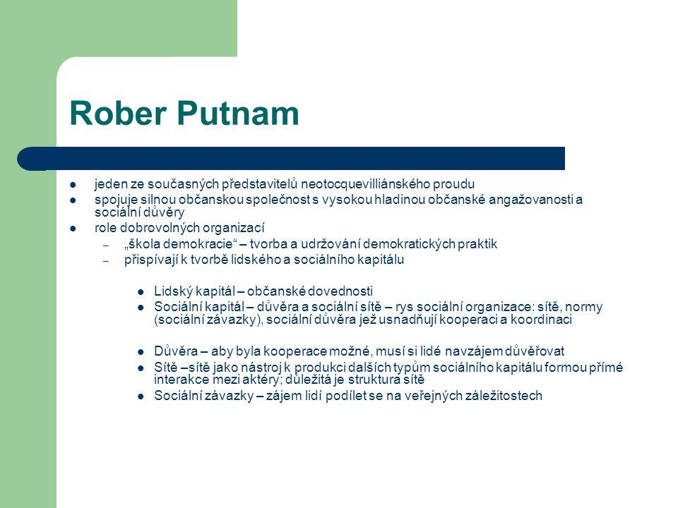 Rober Putnam jeden ze současných představitelů neotocquevilliánského proudu spojuje silnou občanskou společnost s vysokou hladinou občanské angažovano