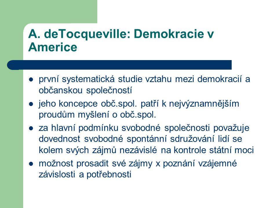 A. deTocqueville: Demokracie v Americe první systematická studie vztahu mezi demokracií a občanskou společností jeho koncepce obč.spol. patří k nejvýz