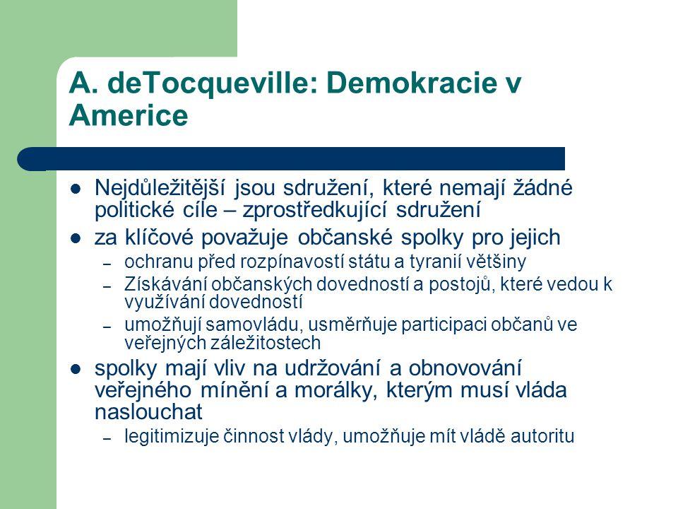 A. deTocqueville: Demokracie v Americe Nejdůležitější jsou sdružení, které nemají žádné politické cíle – zprostředkující sdružení za klíčové považuje