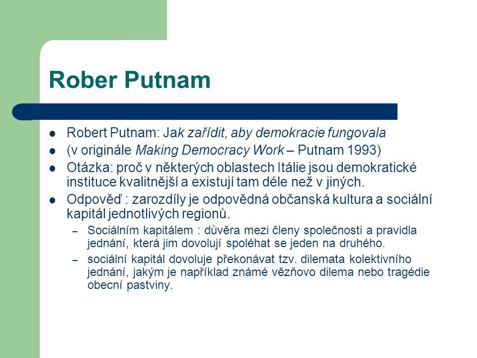 Rober Putnam Robert Putnam: Jak zařídit, aby demokracie fungovala (v originále Making Democracy Work – Putnam 1993) Otázka: proč v některých oblastech
