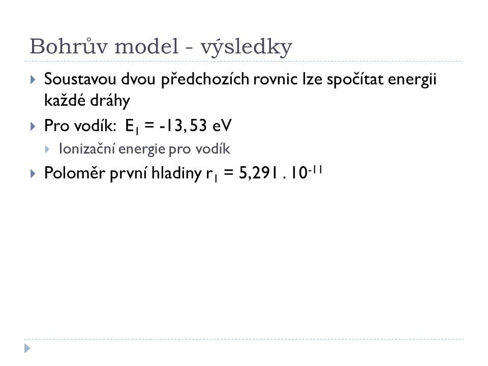 Bohrův model - výsledky  Soustavou dvou předchozích rovnic lze spočítat energii každé dráhy  Pro vodík: E 1 = -13, 53 eV  Ionizační energie pro vod