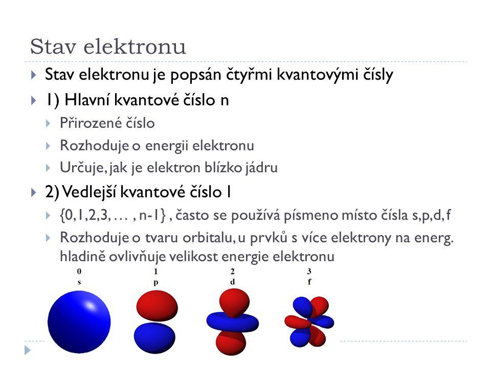 Stav elektronu  Stav elektronu je popsán čtyřmi kvantovými čísly  1) Hlavní kvantové číslo n  Přirozené číslo  Rozhoduje o energii elektronu  Urč