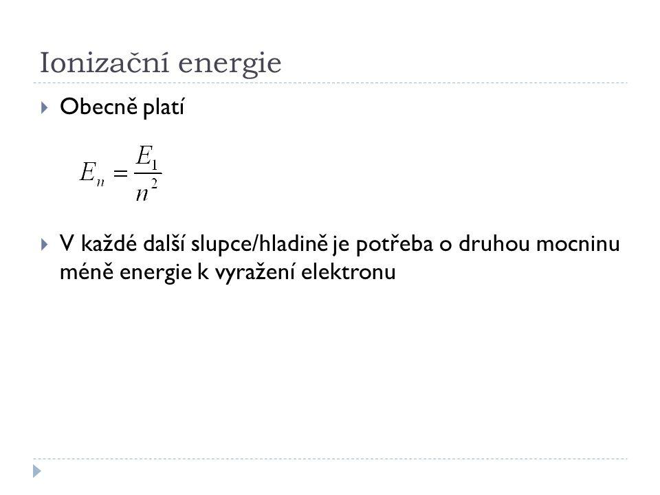 Ionizační energie  Obecně platí  V každé další slupce/hladině je potřeba o druhou mocninu méně energie k vyražení elektronu