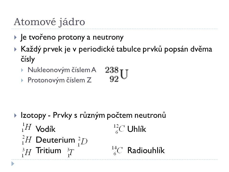 VodíkUhlík Deuterium TritiumRadiouhlík Atomové jádro  Je tvořeno protony a neutrony  Každý prvek je v periodické tabulce prvků popsán dvěma čísly 