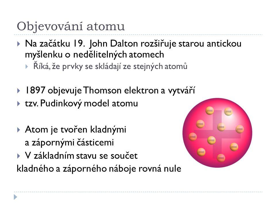 Objevování atomu  Na začátku 19. John Dalton rozšiřuje starou antickou myšlenku o nedělitelných atomech  Říká, že prvky se skládají ze stejných atom