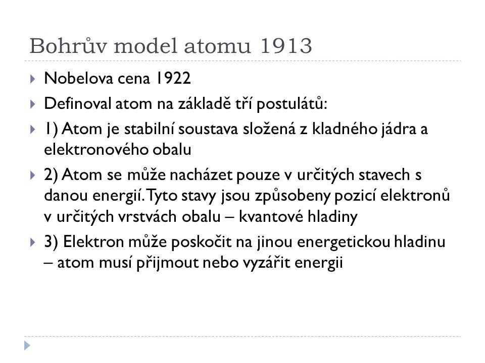 Bohrův model atomu 1913  Nobelova cena 1922  Definoval atom na základě tří postulátů:  1) Atom je stabilní soustava složená z kladného jádra a elek