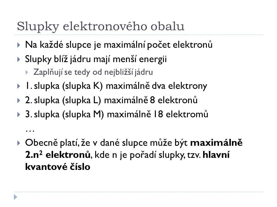 Slupky elektronového obalu  Na každé slupce je maximální počet elektronů  Slupky blíž jádru mají menší energii  Zaplňují se tedy od nejbližší jádru