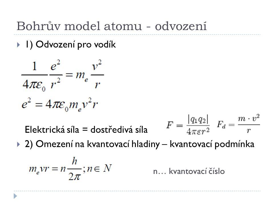 Bohrův model atomu - odvození  1) Odvození pro vodík Elektrická síla = dostředivá síla  2) Omezení na kvantovací hladiny – kvantovací podmínka n… kv