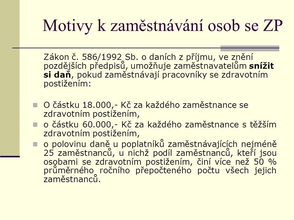 Motivy k zaměstnávání osob se ZP Zákon č. 586/1992 Sb. o daních z příjmu, ve znění pozdějších předpisů, umožňuje zaměstnavatelům snížit si daň, pokud