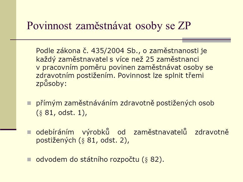 Povinnost zaměstnávat osoby se ZP Podle zákona č. 435/2004 Sb., o zaměstnanosti je každý zaměstnavatel s více než 25 zaměstnanci v pracovním poměru po