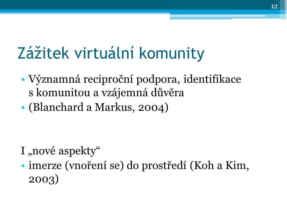 """Zážitek virtuální komunity Významná reciproční podpora, identifikace s komunitou a vzájemná důvěra (Blanchard a Markus, 2004) I """"nové aspekty imerze (vnoření se) do prostředí (Koh a Kim, 2003) 12"""