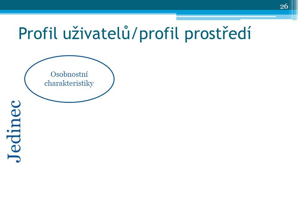 Profil uživatelů/profil prostředí Osobnostní charakteristiky Jedinec 26