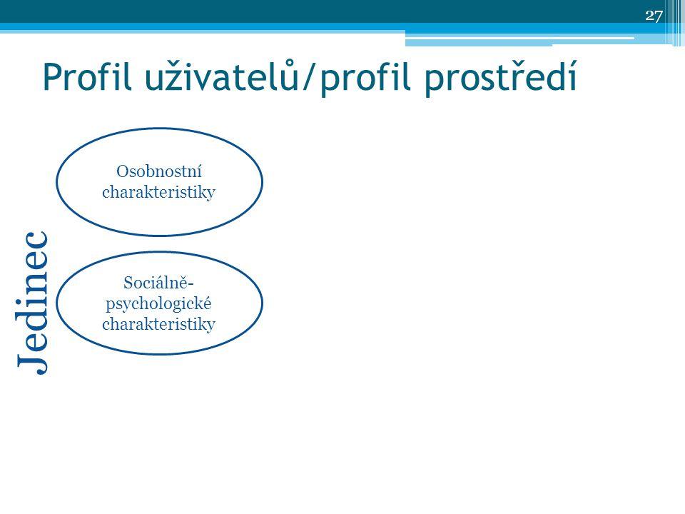 Profil uživatelů/profil prostředí Osobnostní charakteristiky Sociálně- psychologické charakteristiky Jedinec 27
