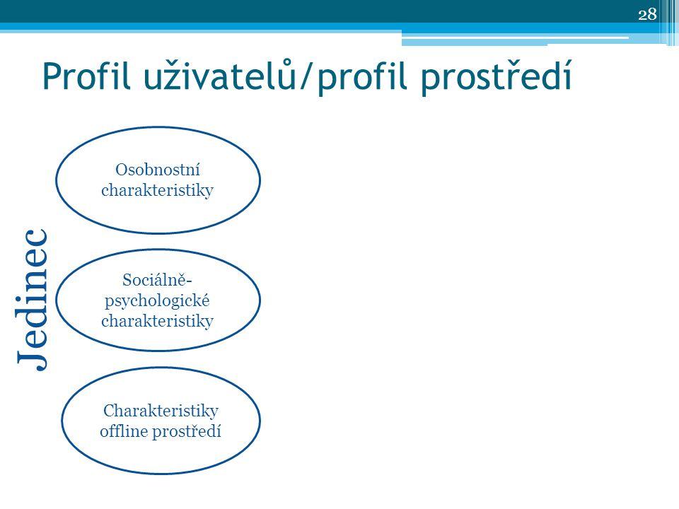Profil uživatelů/profil prostředí Osobnostní charakteristiky Charakteristiky offline prostředí Sociálně- psychologické charakteristiky Jedinec 28
