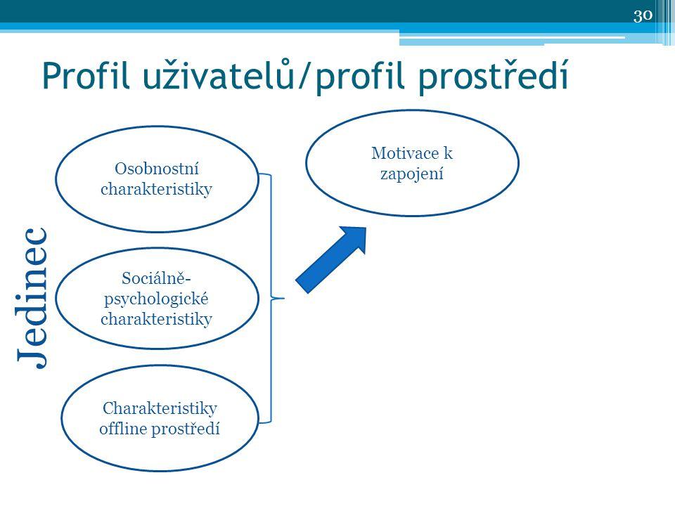 Profil uživatelů/profil prostředí Osobnostní charakteristiky Charakteristiky offline prostředí Sociálně- psychologické charakteristiky Motivace k zapojení Jedinec 30