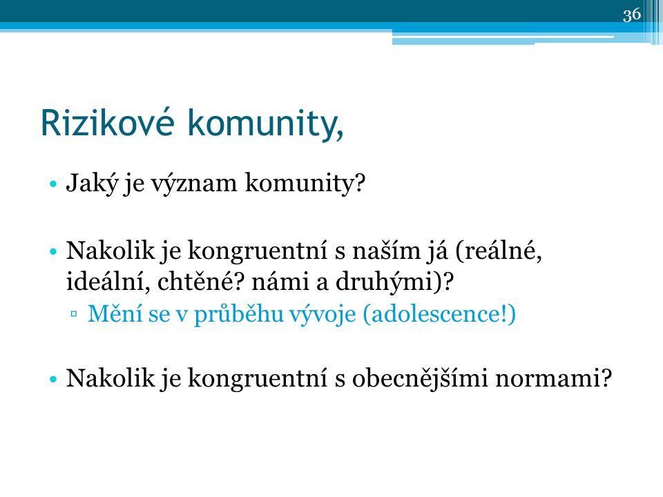 Rizikové komunity, Jaký je význam komunity.