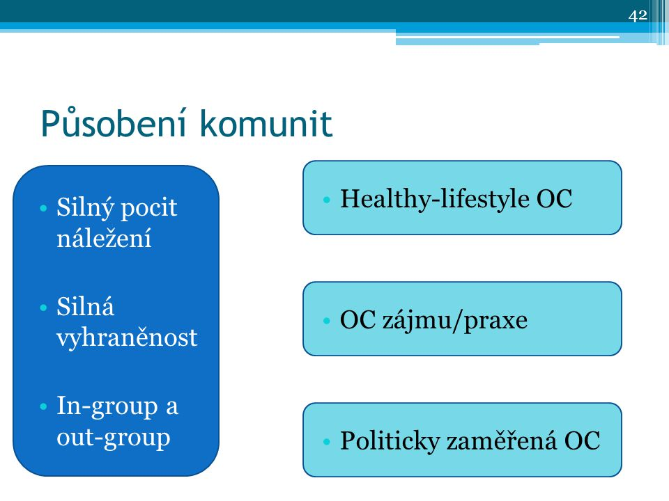 Působení komunit Silný pocit náležení Silná vyhraněnost In-group a out-group Healthy-lifestyle OC OC zájmu/praxe Politicky zaměřená OC 42