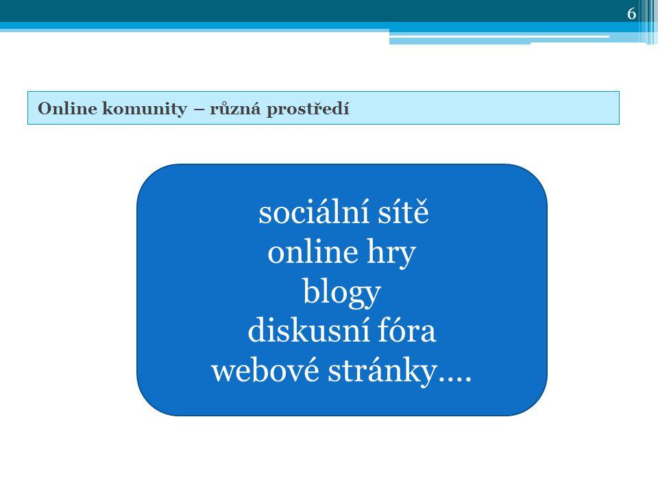 sociální sítě online hry blogy diskusní fóra webové stránky…. 6