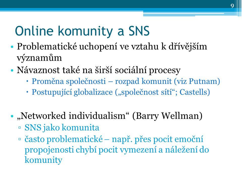 """Online komunity a SNS Problematické uchopení ve vztahu k dřívějším významům Návaznost také na širší sociální procesy  Proměna společnosti – rozpad komunit (viz Putnam)  Postupující globalizace (""""společnost sítí ; Castells) """"Networked individualism (Barry Wellman) ▫SNS jako komunita ▫často problematické – např."""