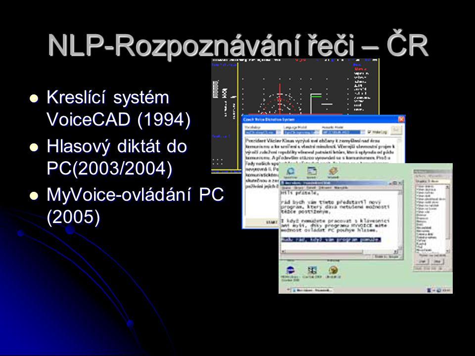 NLP-Rozpoznávání řeči – ČR Kreslící systém VoiceCAD (1994) Kreslící systém VoiceCAD (1994) Hlasový diktát do PC(2003/2004) Hlasový diktát do PC(2003/2004) MyVoice-ovládání PC (2005) MyVoice-ovládání PC (2005)