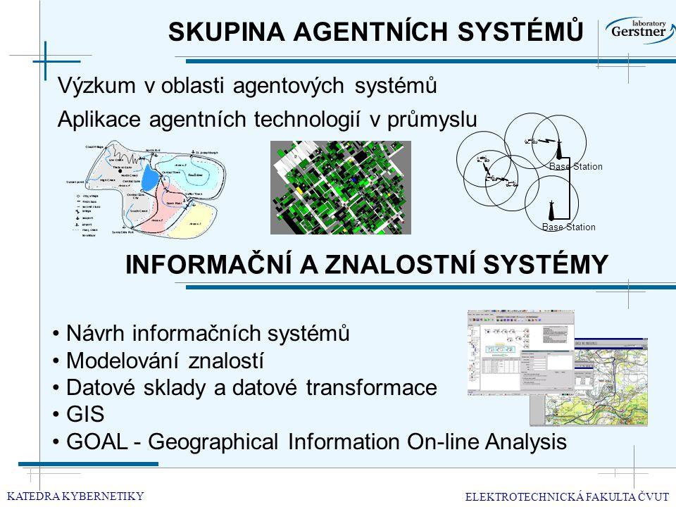 SKUPINA AGENTNÍCH SYSTÉMŮ Výzkum v oblasti agentových systémů KATEDRA KYBERNETIKY ELEKTROTECHNICKÁ FAKULTA ČVUT Aplikace agentních technologií v průmyslu INFORMAČNÍ A ZNALOSTNÍ SYSTÉMY Návrh informačních systémů Modelování znalostí Datové sklady a datové transformace GIS GOAL - Geographical Information On-line Analysis Base Station