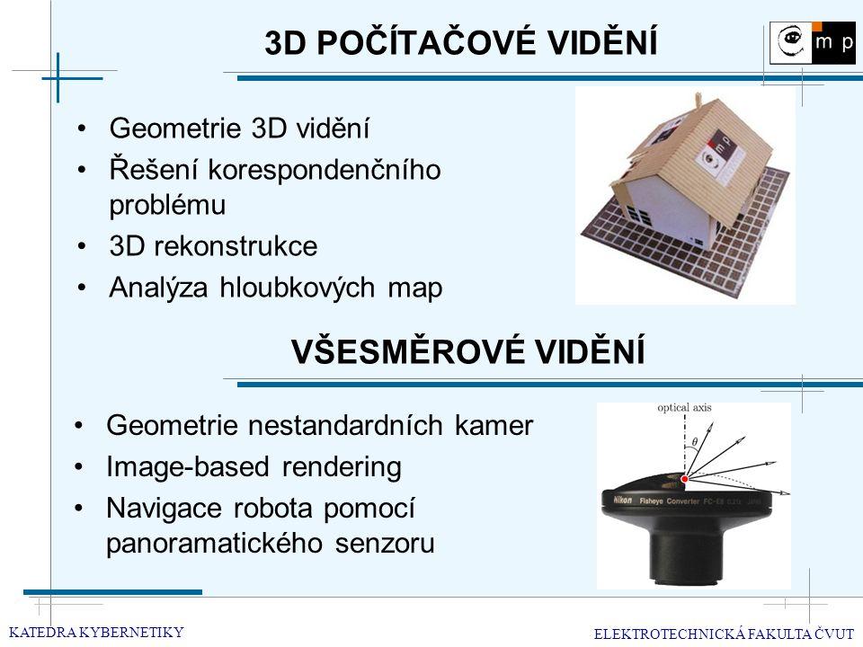 3D POČÍTAČOVÉ VIDĚNÍ Geometrie 3D vidění Řešení korespondenčního problému 3D rekonstrukce Analýza hloubkových map KATEDRA KYBERNETIKY ELEKTROTECHNICKÁ FAKULTA ČVUT VŠESMĚROVÉ VIDĚNÍ Geometrie nestandardních kamer Image-based rendering Navigace robota pomocí panoramatického senzoru
