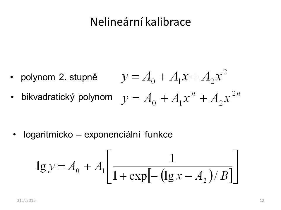 Nelineární kalibrace 31.7.201512 polynom 2. stupně bikvadratický polynom logaritmicko – exponenciální funkce