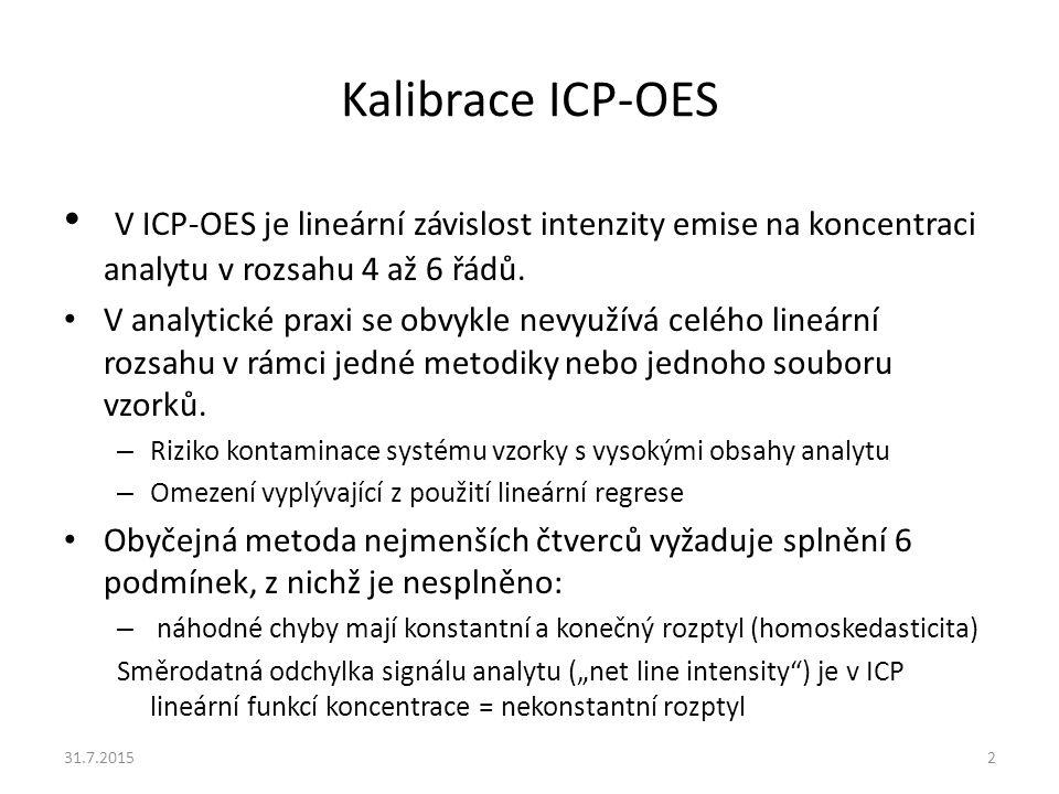 Kalibrace ICP-OES V ICP-OES je lineární závislost intenzity emise na koncentraci analytu v rozsahu 4 až 6 řádů. V analytické praxi se obvykle nevyužív