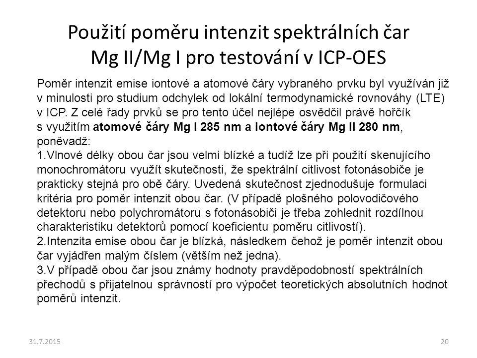 Použití poměru intenzit spektrálních čar Mg II/Mg I pro testování v ICP-OES 31.7.201520 Poměr intenzit emise iontové a atomové čáry vybraného prvku by