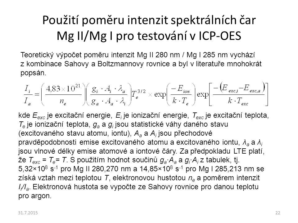 Použití poměru intenzit spektrálních čar Mg II/Mg I pro testování v ICP-OES 31.7.201522 kde E exc je excitační energie, E i je ionizační energie, T ex