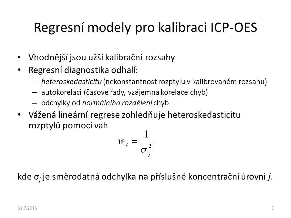 Vážená lineární regrese Místo obvyklého těžiště regresní přímky získané obyčejnou lineární regresí, jehož souřadnice a jsou vypočteny jako průměrné hodnoty souřadnic experimentálních bodů, tak získáme těžiště o souřadnicích kde x j a y j jsou souřadnice jednotlivých experimentálních (kalibračních) bodů.