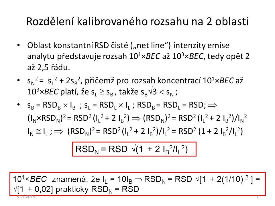 """Rozdělení kalibrovaného rozsahu na 2 oblasti Oblast konstantní RSD čisté (""""net line"""") intenzity emise analytu představuje rozsah 10 1 ×BEC až 10 3 ×BE"""