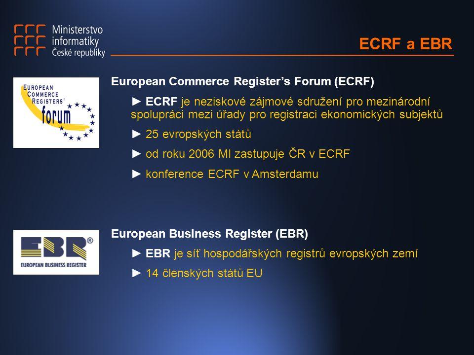 ECRF a EBR European Commerce Register's Forum (ECRF) ► ECRF je neziskové zájmové sdružení pro mezinárodní spolupráci mezi úřady pro registraci ekonomických subjektů ► 25 evropských států ► od roku 2006 MI zastupuje ČR v ECRF ► konference ECRF v Amsterdamu European Business Register (EBR) ► EBR je síť hospodářských registrů evropských zemí ► 14 členských států EU