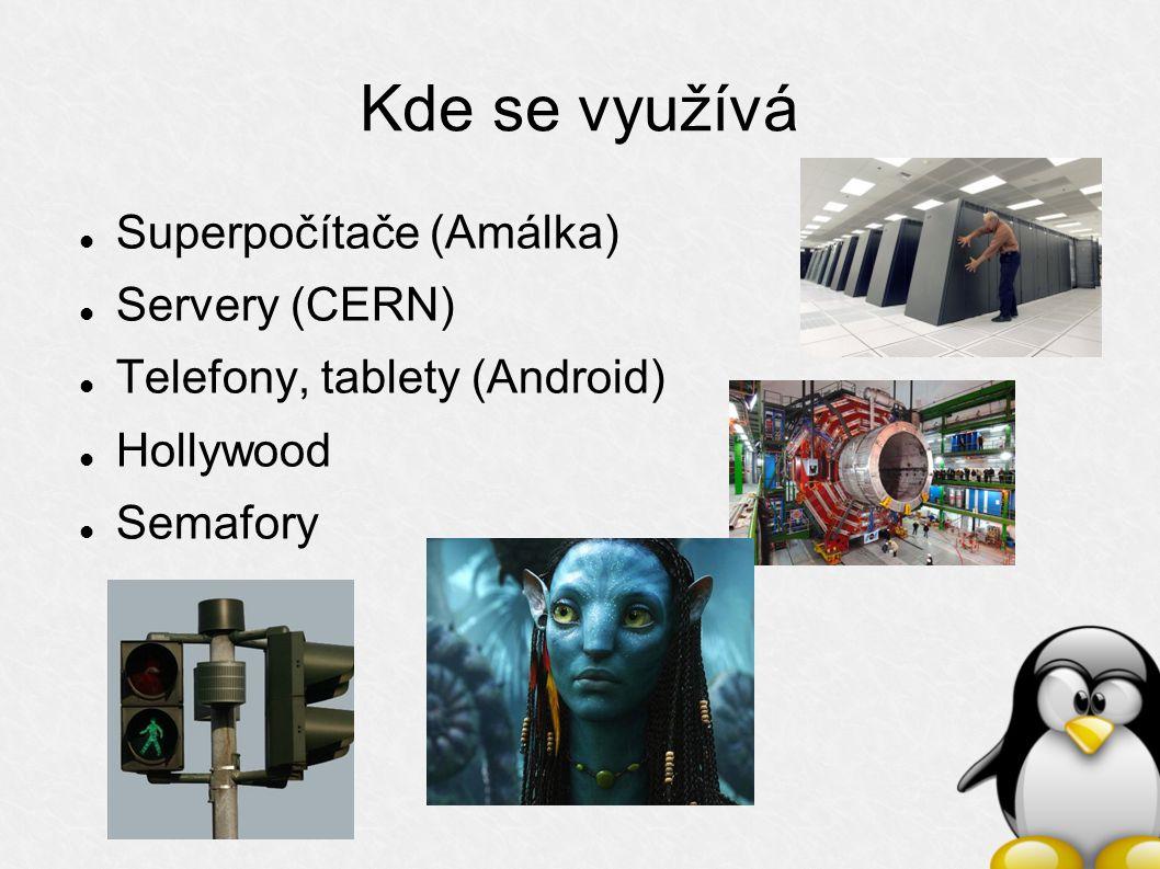 Kde se využívá Superpočítače (Amálka) Servery (CERN) Telefony, tablety (Android) Hollywood Semafory