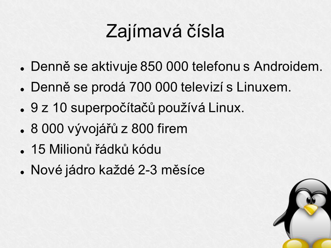 Zajímavá čísla Denně se aktivuje 850 000 telefonu s Androidem.