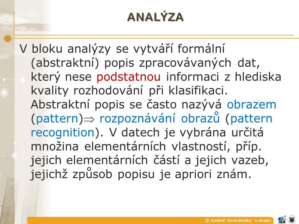 © Institut biostatistiky a analýz ANALÝZA V bloku analýzy se vytváří formální (abstraktní) popis zpracovávaných dat, který nese podstatnou informaci z