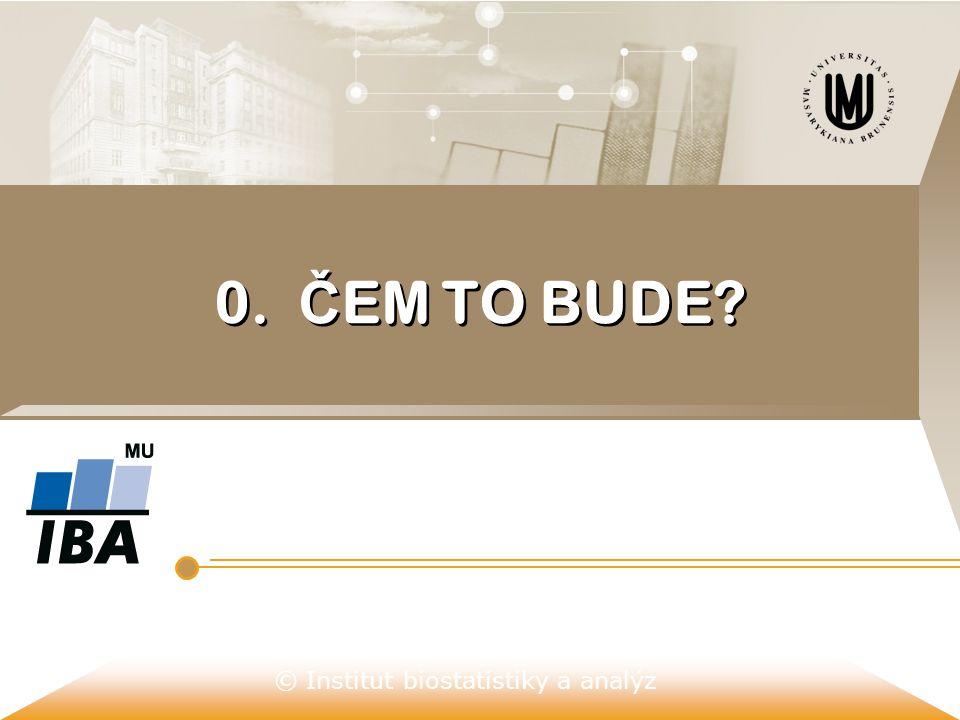© Institut biostatistiky a analýz 0. Č EM TO BUDE?