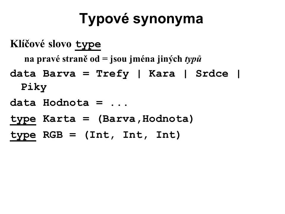 Typové synonyma Klíčové slovo type na pravé straně od = jsou jména jiných typů data Barva = Trefy | Kara | Srdce | Piky data Hodnota =... type Karta =