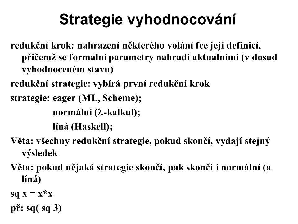 Strategie vyhodnocování redukční krok: nahrazení některého volání fce její definicí, přičemž se formální parametry nahradí aktuálními (v dosud vyhodno
