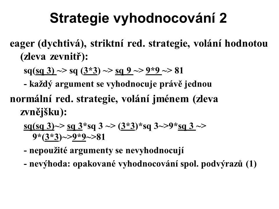 Strategie vyhodnocování 2 eager (dychtivá), striktní red. strategie, volání hodnotou (zleva zevnitř): sq(sq 3) ~> sq (3*3) ~> sq 9 ~> 9*9 ~> 81 - každ