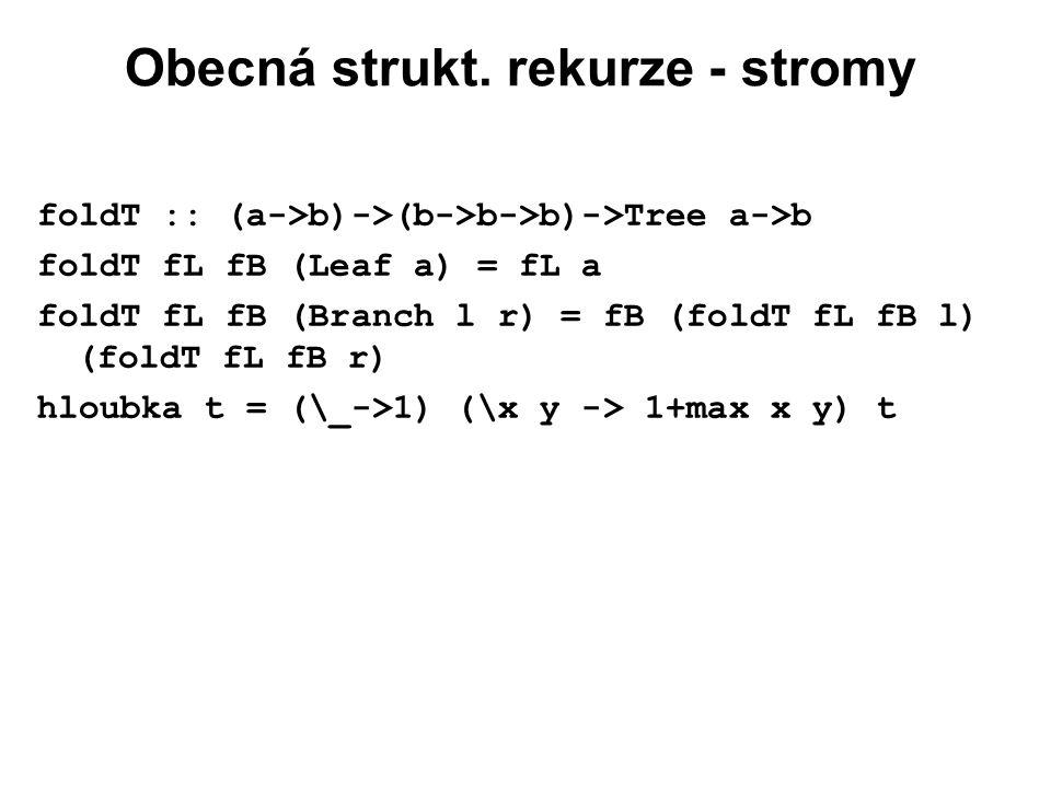 Obecná strukt. rekurze - stromy foldT :: (a->b)->(b->b->b)->Tree a->b foldT fL fB (Leaf a) = fL a foldT fL fB (Branch l r) = fB (foldT fL fB l) (foldT