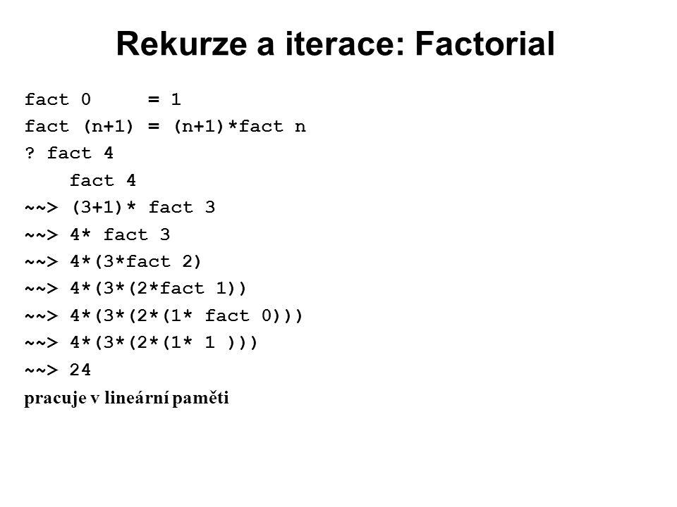 Rekurze a iterace: Factorial fact 0 = 1 fact (n+1) = (n+1)*fact n ? fact 4 fact 4 ~~> (3+1)* fact 3 ~~> 4* fact 3 ~~> 4*(3*fact 2) ~~> 4*(3*(2*fact 1)