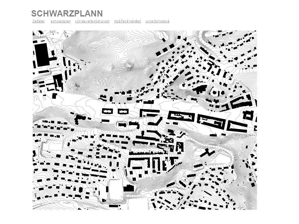 SCHWARZPLANN Území 2 území 1 ZačátekZačátek schwarzplan výkres veřejných ploch Košířské náměstí ulice Schodováschwarzplanvýkres veřejných plochKošířsk