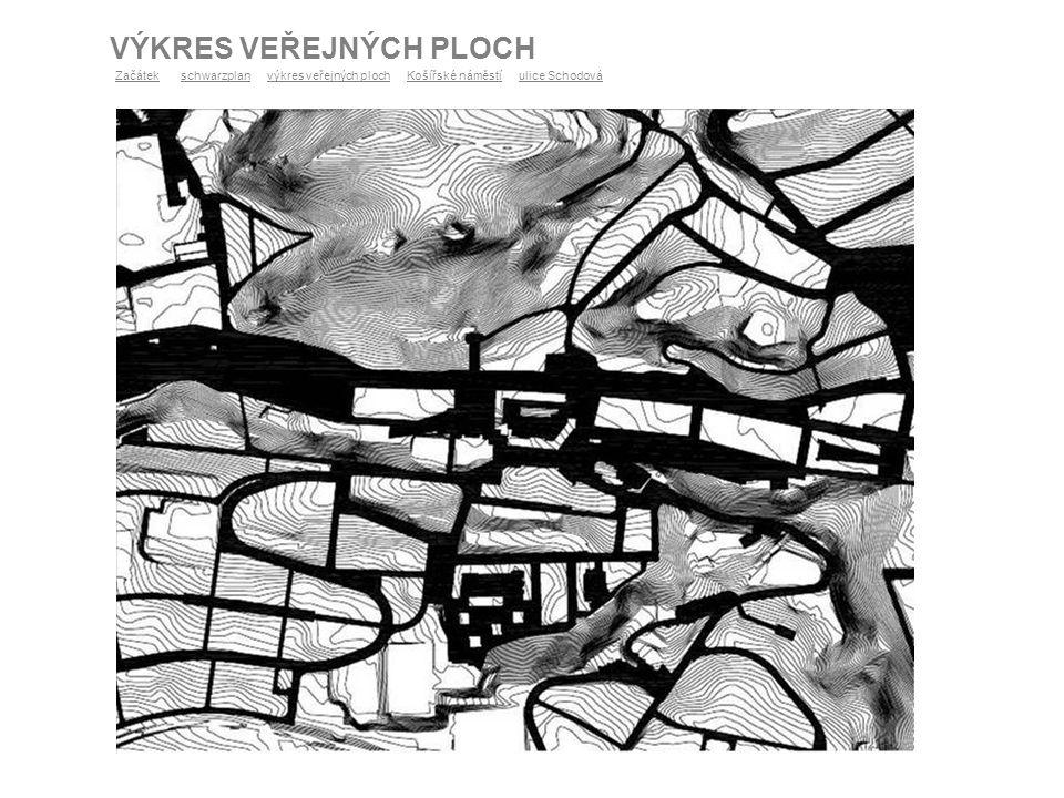 FUNKČNÍ VYUŽITÍ ÚZEMÍ lesní porosty převážně hromadné bydlení s obchodním parterem veřejné vybavení garáže a parkoviště parky výroby a služby individuální bydlení Legenda louky a pastviny sport tratě a zařízení železniční dopravy sběrné komunikace obslužné komunikace trasy tramvaje trasy autobusu ZačátekZačátek schwarzplan výkres veřejných ploch Košířské náměstí ulice Schodováschwarzplanvýkres veřejných plochKošířské náměstíulice Schodová