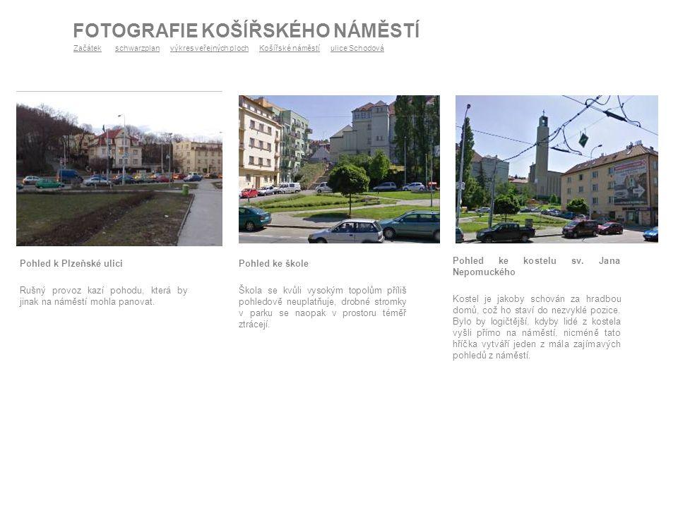 Pohled k Plzeňské ulici Rušný provoz kazí pohodu, která by jinak na náměstí mohla panovat. FOTOGRAFIE KOŠÍŘSKÉHO NÁMĚSTÍ Pohled ke škole Škola se kvůl